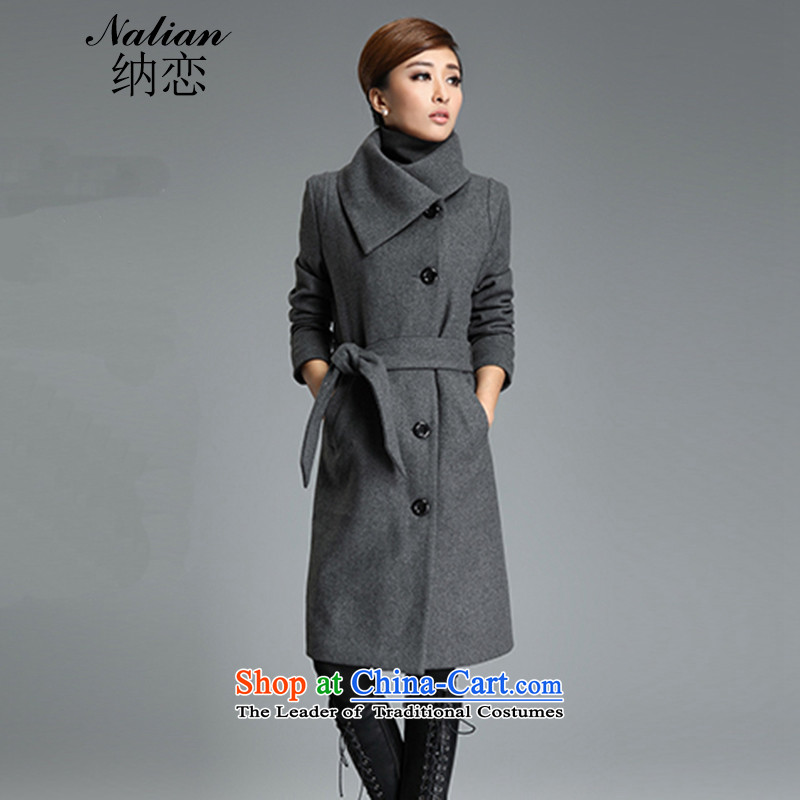 The 2015 large relaxd friendly Korean girl in thick long lapel gross? autumn and winter coats jacket with gray   L