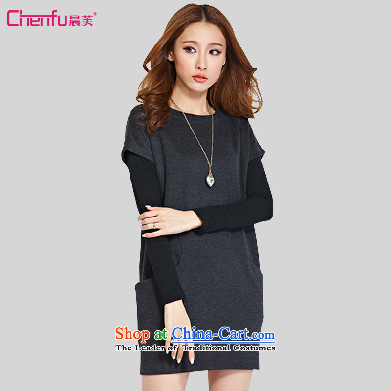Morning to load the new 2015 Autumn Korean version of large numbers of ladies dress kit fat mm long-sleeved T-shirt and dresses two kits carbon 4XL recommendations appears at paragraphs 145-155 catty