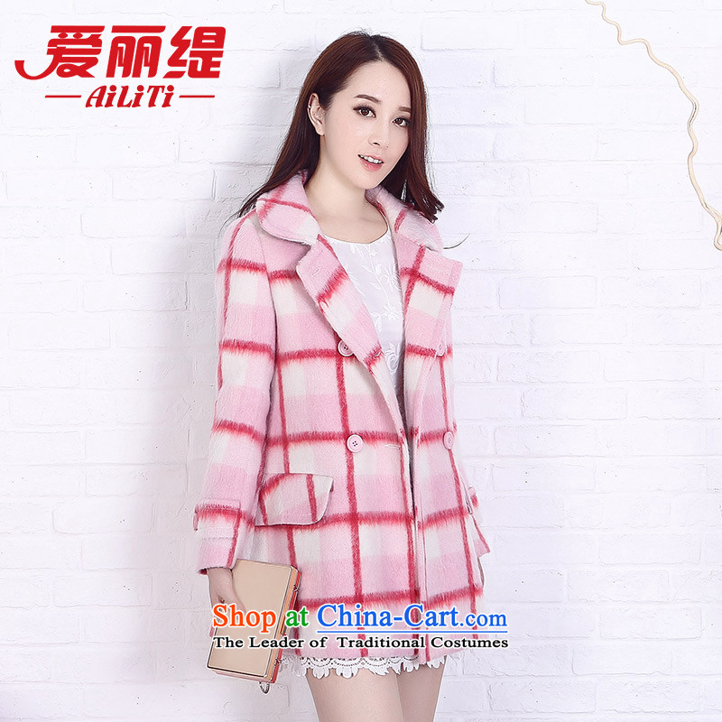 Christy Love 2015 Autumn replacing new sweet gross? jacket suit Sau San collar tartan coats V2714 female red white checkered聽S