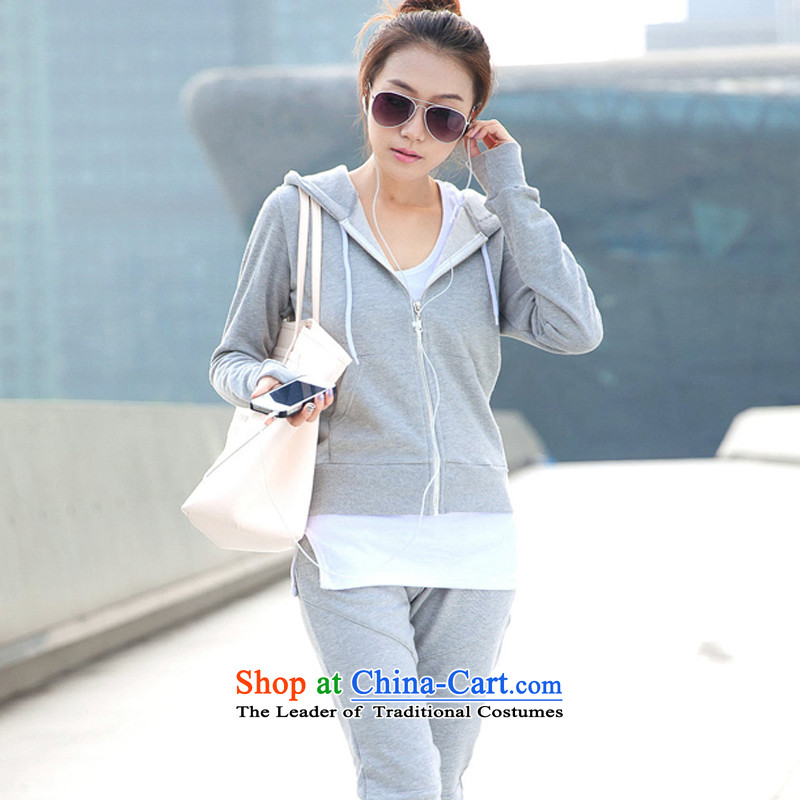 Create the  2015 autumn billion new Korean version of large numbers of ladies fashion sweater in Sau San lint-free sports wear casual three-piece set loaded GT8865 light gray M