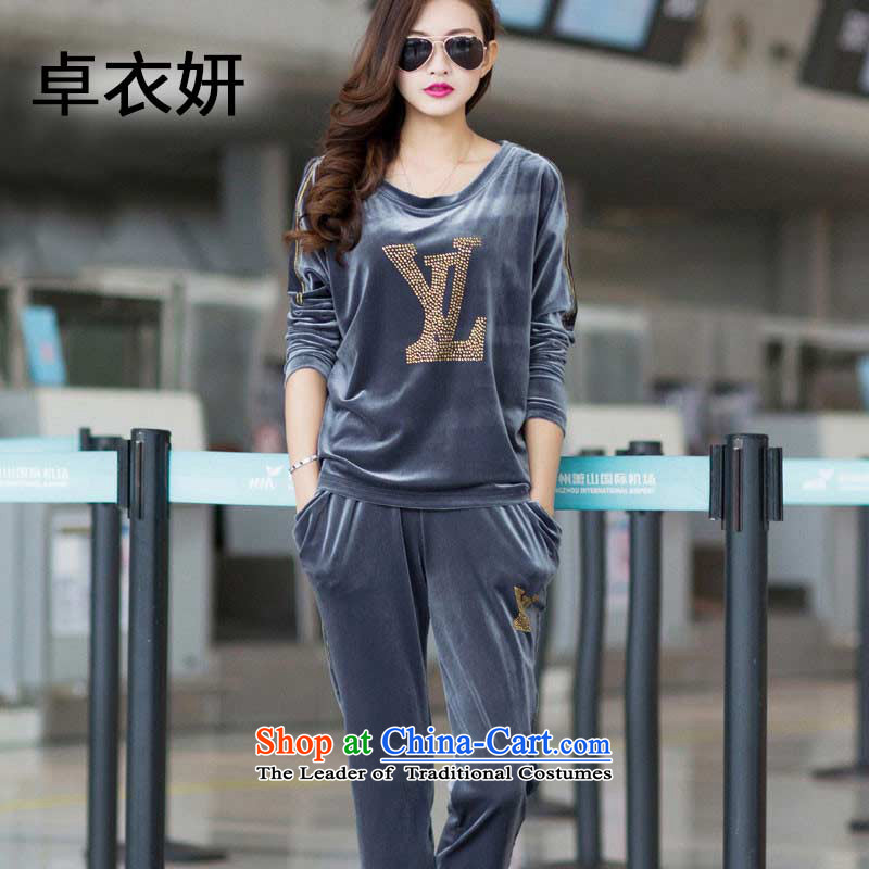 Adam Cheng No. 2015 Autumn 1342_ new Korean large stylish package leisure large gold velour Sau San sportswear gray?XXL