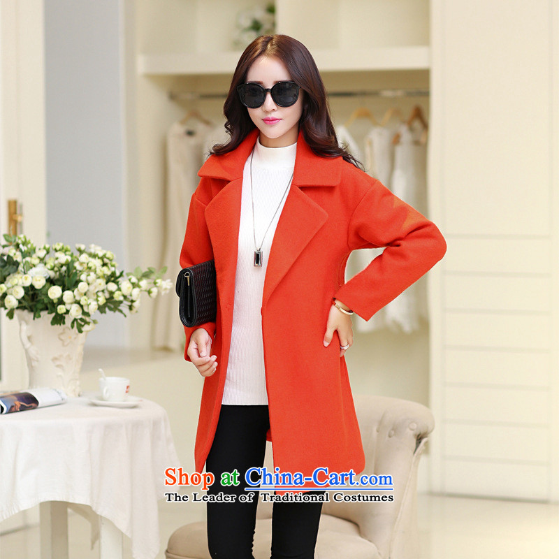 El products are still not thick 2015 Fall_Winter Collections new Korean pure color a jacket orange M
