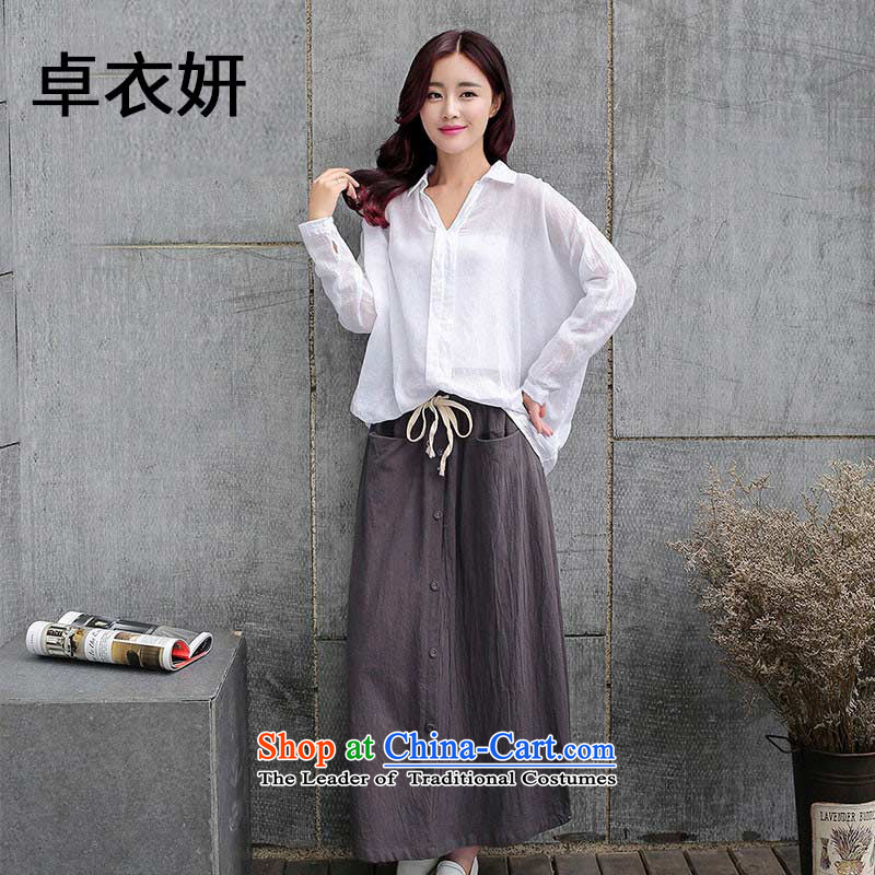 New decorated in autumn 1341_2015 as cotton linen dresses two kits arts retro long-sleeved shirt kit skirt women stylish picture color燲L
