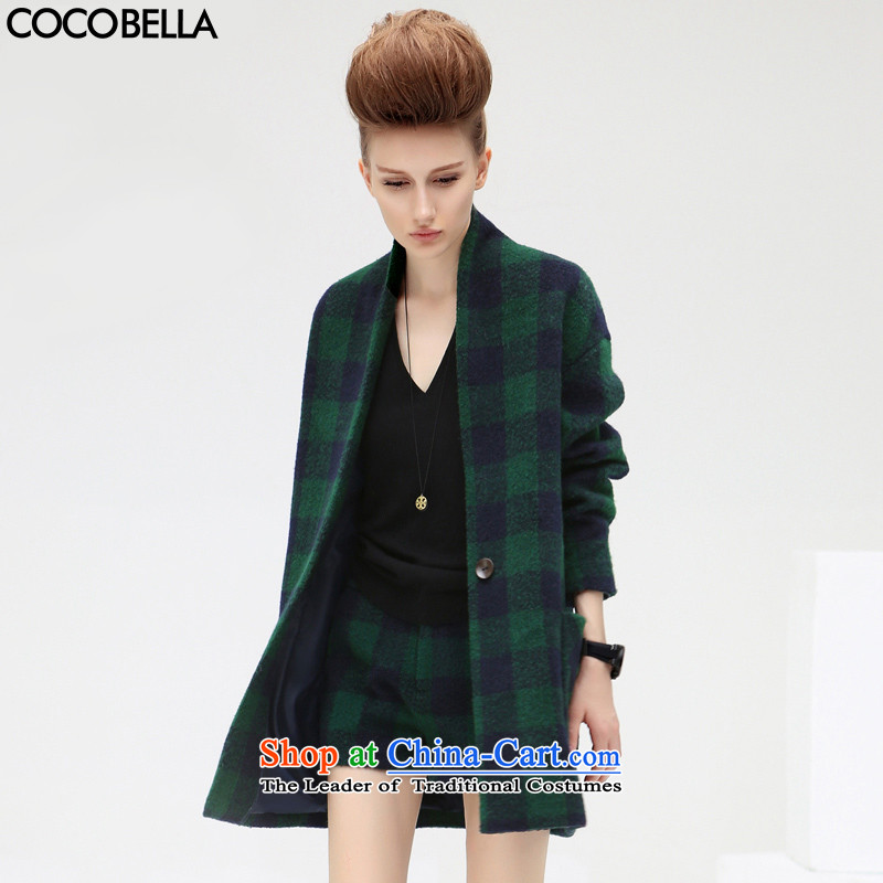 2015 Autumn and winter new COCOBELLA Classic Grid Snap in a long hair? jacket, blue and green of the female CT216 S