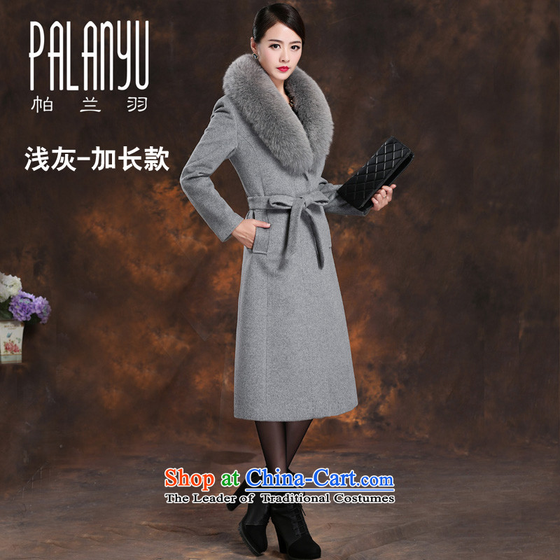 Palun Yu high integrity products really gross collar cashmere overcoat fox female�15 winter clothing long wool woolen coat?   Graphics thin sent jacket燬078 lap long light gray燲L