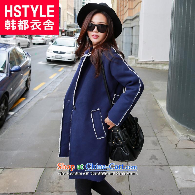 Korea has the Korean version of the Dag Hammarskjöld yi 2015 winter clothing new women's long-sleeved lapel video thin coat NW4795?(6) grossBlueM