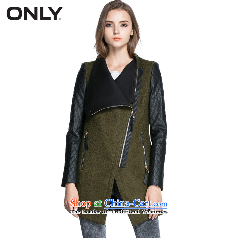 Load New autumn ONLY2015 included a zipper PU Metal Wool stitching gross? jacket T|11536t006 046 olive� 170_88A_L female