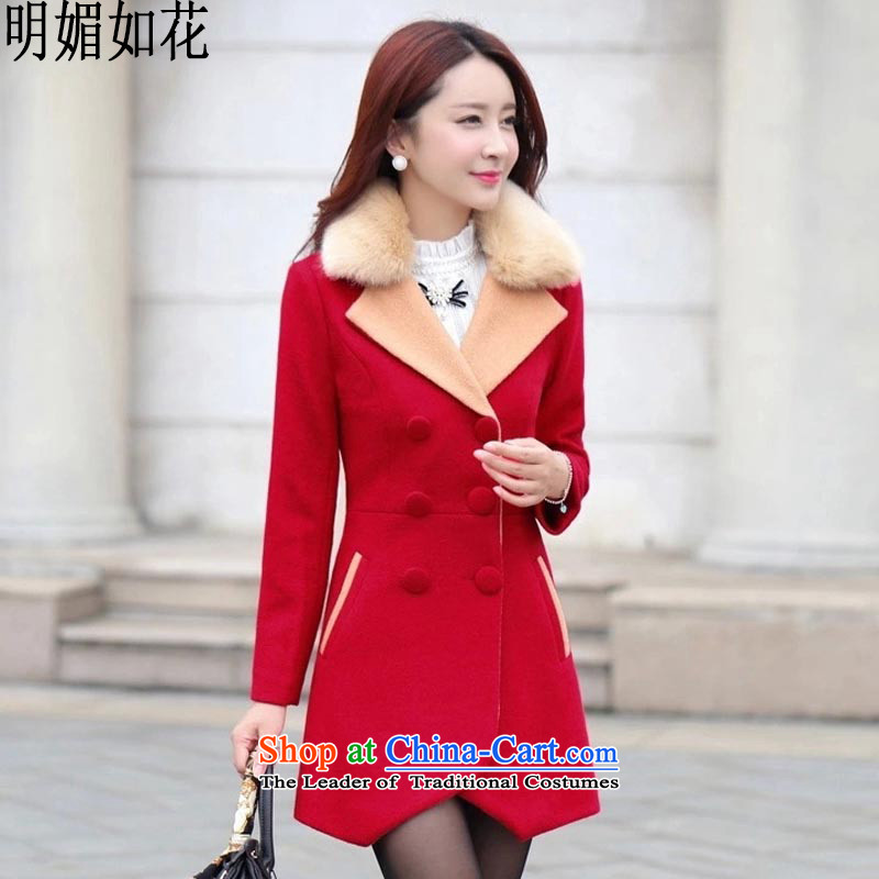 The shining like flowers 2015 autumn and winter new a wool coat female Korean jacket in gross? long thin? jacket Sau San Graphics 5350 large redM