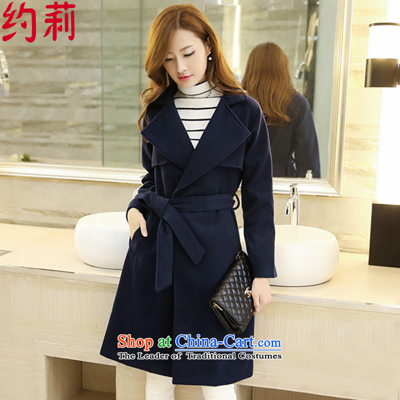 About Li 2015 autumn and winter coats new gross?   in Korean female long hair? L141 female jacket color navy�  L