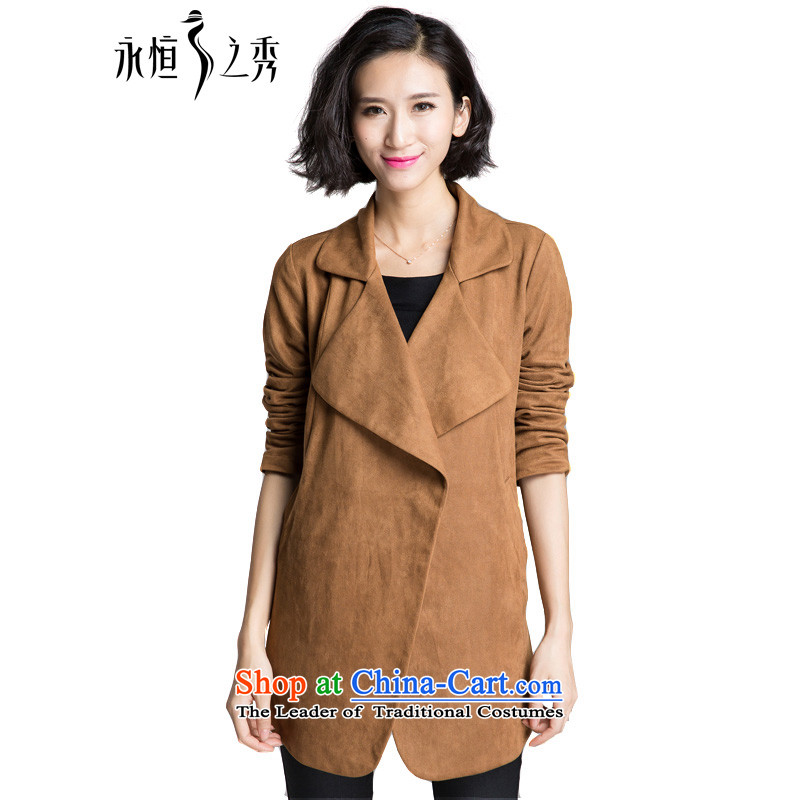 The Eternal Soo-XL female jackets 2015 Fall_Winter Collections of new products on mm thick people relaxd sister to graphics and stylish colors thin temperament max flip Neck Jacket and color�L