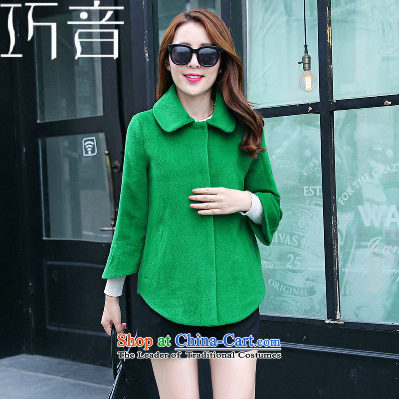 Candy Lo�15 Fall_Winter Collections new Korean Sau San video thin knitting Cashmere wool coat short of the amount?? jacket female grass green燤