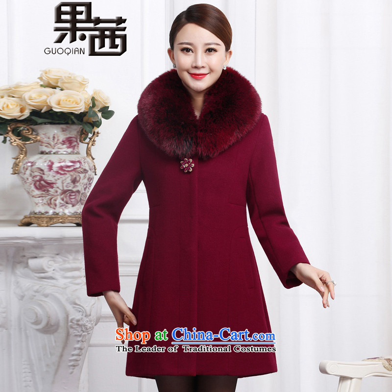 Mrs Ure 2015 Winter Fruit new moms with large middle-aged emulation Fox for gross long cashmere overcoat jacket coat women gross Sau San? 1197 wine red L