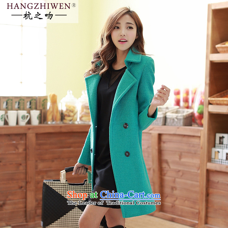Spring 2015 winter coats kisses female new product version in Korea long-thick Sau San gross? leisure wool a wool coat Thick Green Lake_燬 thick winter_ can penetrate