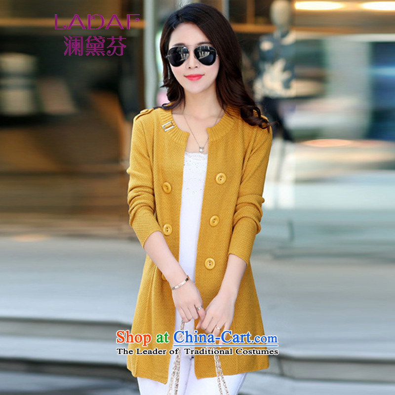 The world by 2015 Autumn Load Stephen Doi New Sau San female cardigan in long Knitted Shirt Girl  during the spring and autumn large sweater COAT 8050 Yellow are code