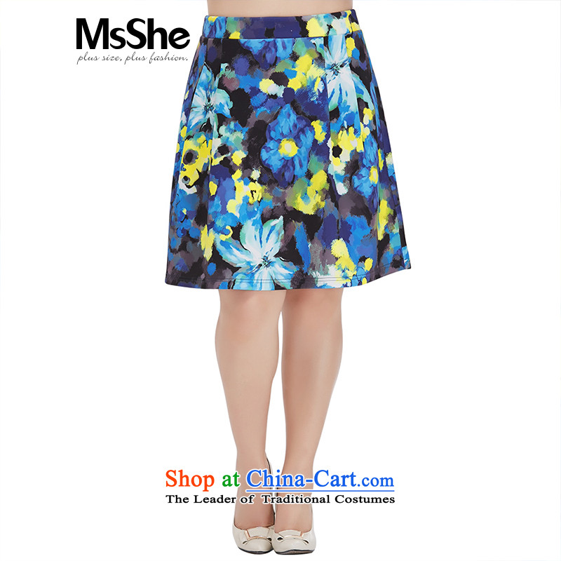 Large msshe women 2015 new high autumn pop-knitting stamp thick MM body petticoat skirt 10068 field blue?T5