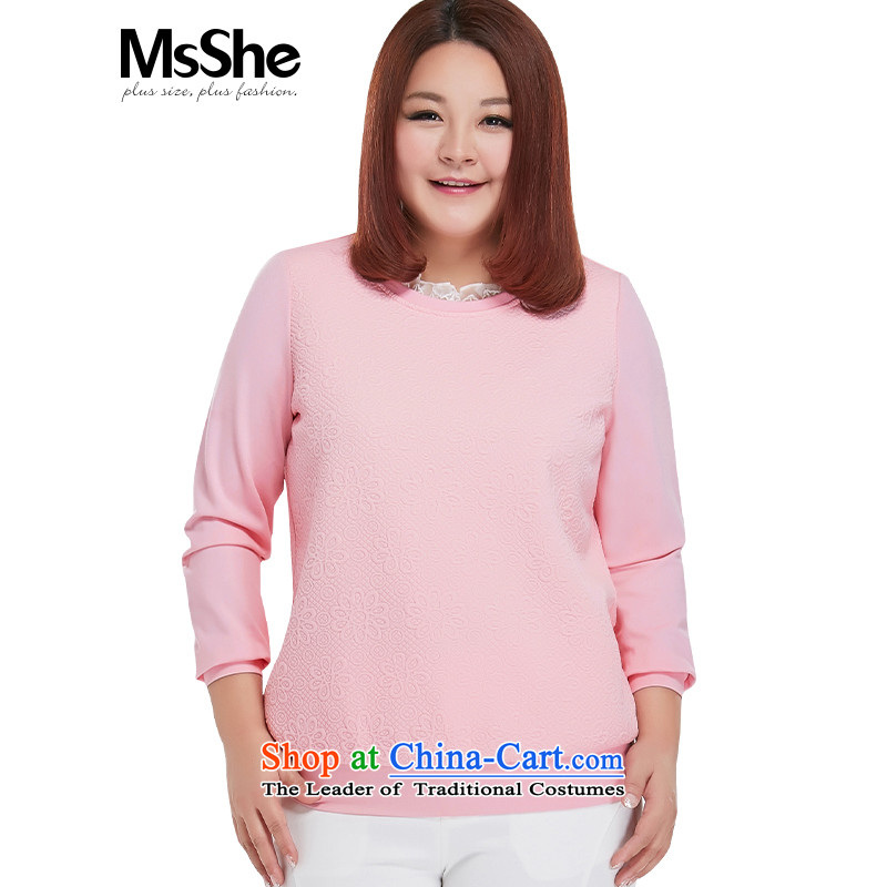 Msshe xl women 2015 new 200 catties autumn sport sweet replacing kit and sweater pink3XL 10301