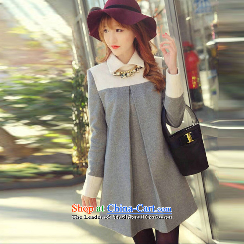 Create the  2015 autumn billion new Korean version of large numbers of ladies fashion gross stitching loose video? Thin long-sleeved dresses F165 light gray XXL