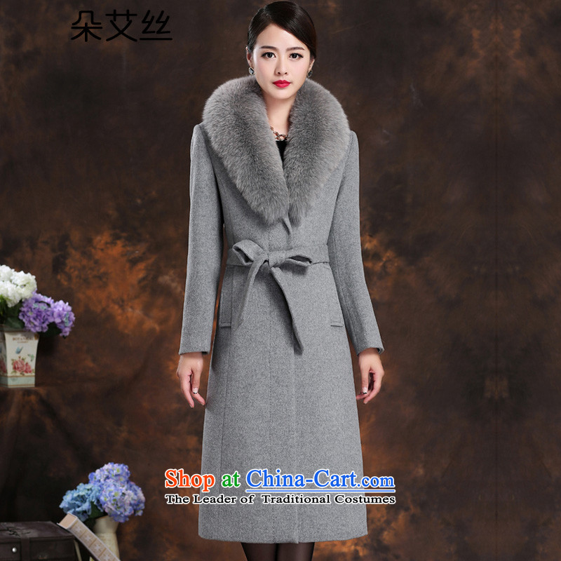 High-end really gross collar cashmere overcoat fox girl for winter 2015 NEW XL Sau San video thin woolen coat female autumn and winter-long hair? Jacket Light Gray L