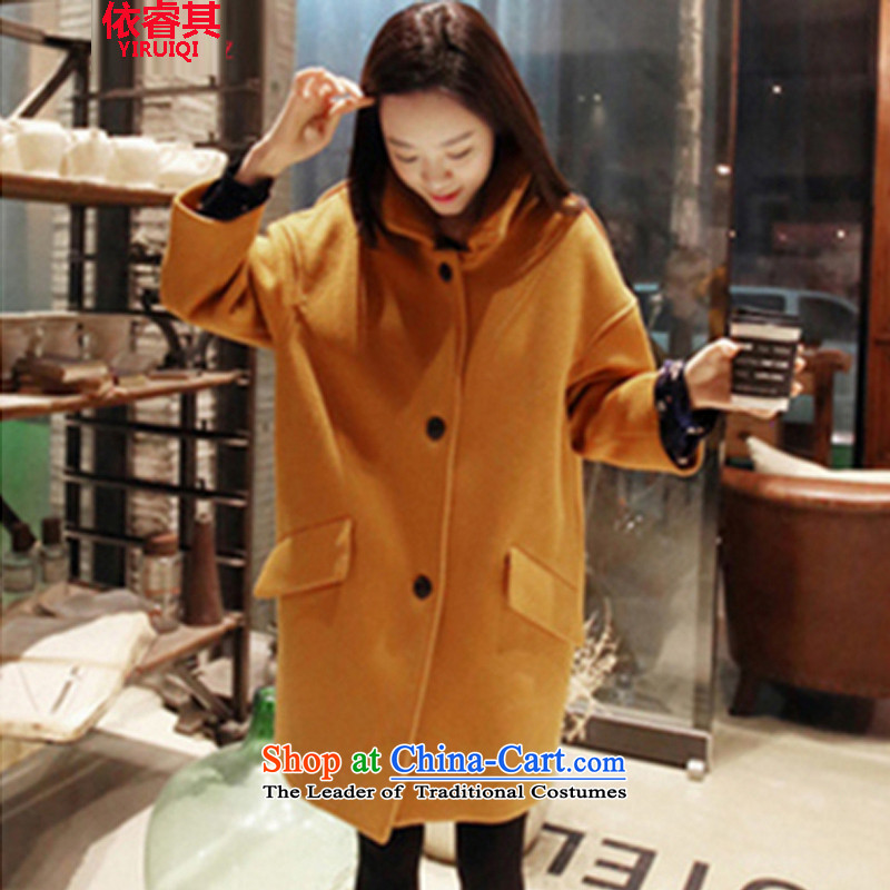 In accordance with the core of its 2015 autumn and winter new Korean version of Sau San? In gross jacket long a wool coat video thin coat Women's jacket turmeric yellow燤