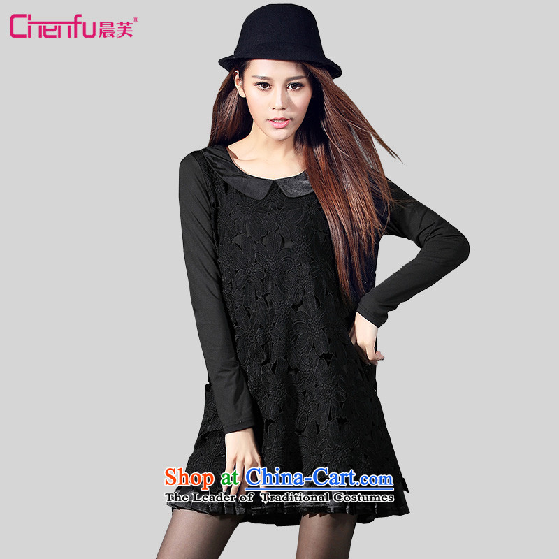 Morning to load the new 2015 Autumn Korean version of large numbers of ladies fashion doll wild collar engraving lace stitching leave two garment�L_ black recommendations 165-180 charm catty_