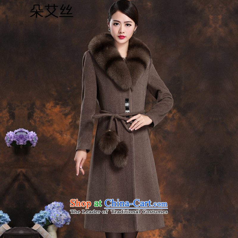 High-end women's gross for long, fox cashmere overcoat female new 2015 Fall_Winter Collections thick hair girl in the jacket? Long Korean wool coat and Sau San? color燲XL