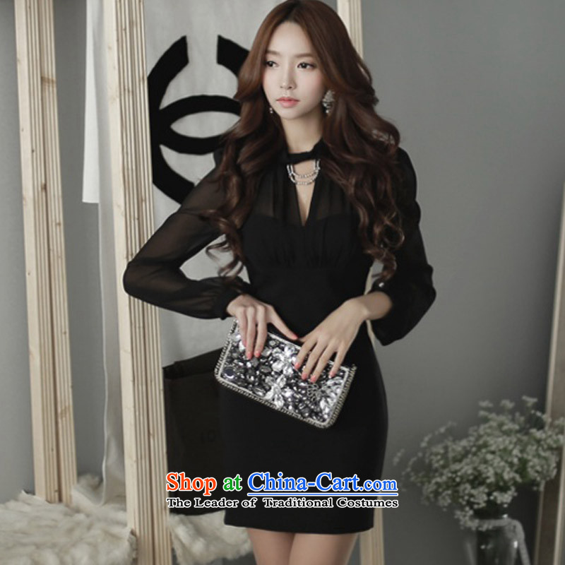 Create the 2015 autumn billion new Korean version of large numbers of women who decorated in a sense of night clubs forming the thin skirt strain graphics package and a series of dressesG845 spellblackXXL