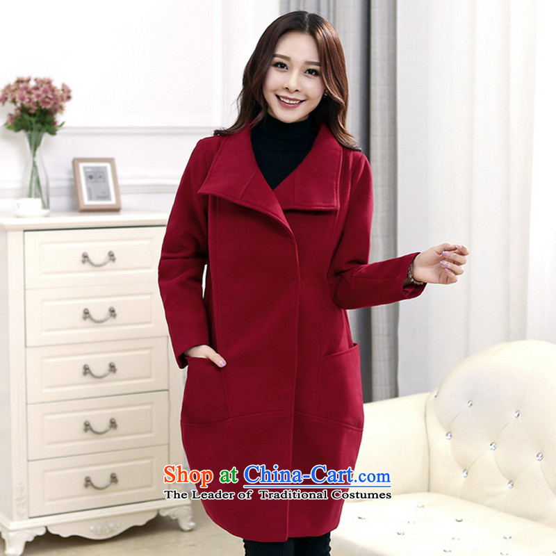 The population of autumn and winter 2015 Lin Wen-new stylish gross? long jacket large relaxd a wool coat XXXL color picture