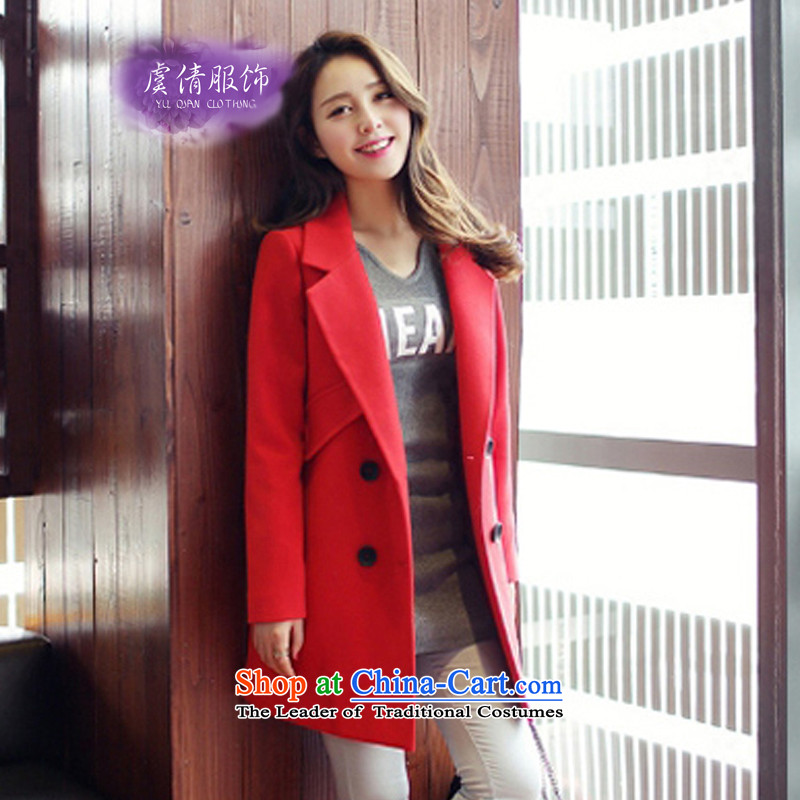 Yu Chien YQ autumn 2015 the new version made from Korea long hair? jacket women Sau San a wool coat Y231 RED M