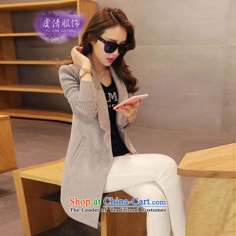 Yu Chien YQ 2015 autumn and winter new Korean fashion Sau San Mao jacket girl in long?_? a wool coat female Y232 GRAY聽M