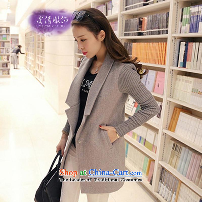 Yu Chien YQ 2015 autumn and winter new Korean fashion Sau San Mao jacket girl in long?)? a wool coat female Y232 GRAY聽M Yu Chien dress (YU QIAN) , , , shopping on the Internet