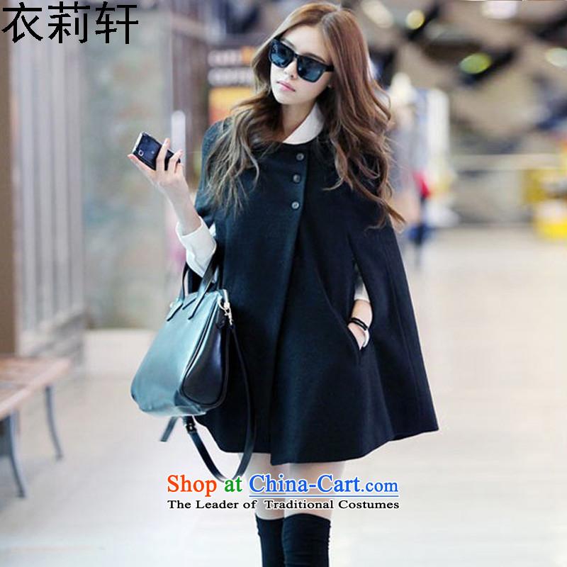 Yi LI XUAN2015 autumn and winter coats gross new? Korean cloak a jacket in long frock coat shirt? gross shawl black S