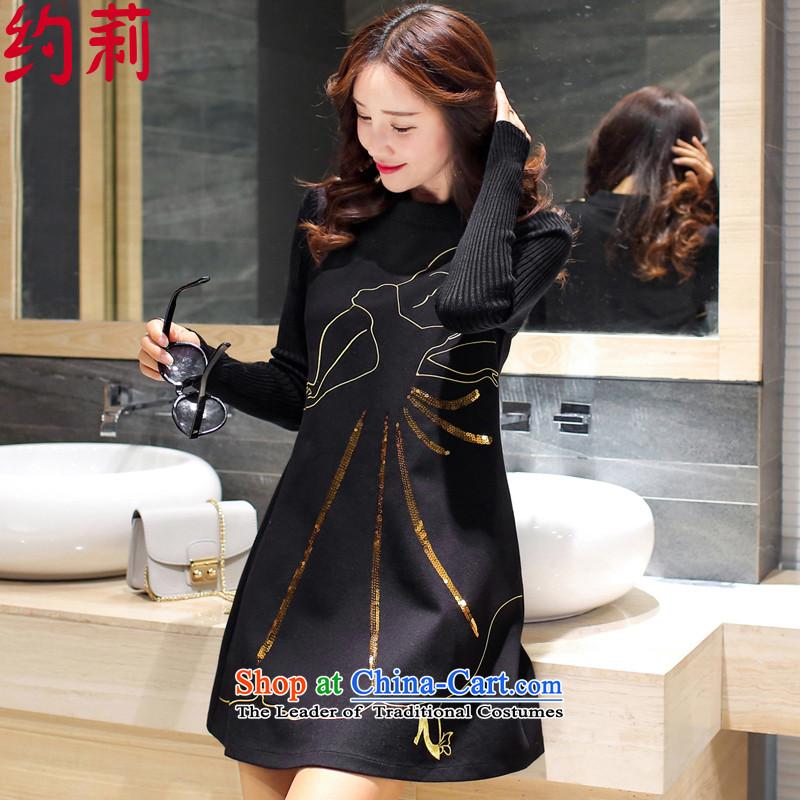 Approximately 201 Li dongqiu new larger female Korean long-sleeved in Sau San long a knitting dress L153 Wong printed black� XL