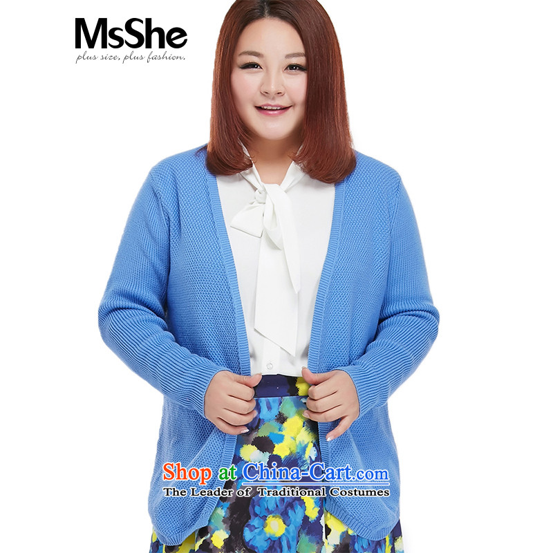 To increase the number msshe women 2015 new autumn replacing thick sister V-Neck knitting cardigan jacket video thin 4580 bright blue�L