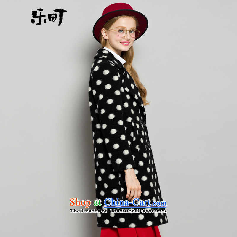 Lok-machi 2015 Autumn new gross coats dot? Long a wool coat lapel woolen coat jacket black and white wave gross?聽M/160, Lok-point , , , shopping on the Internet