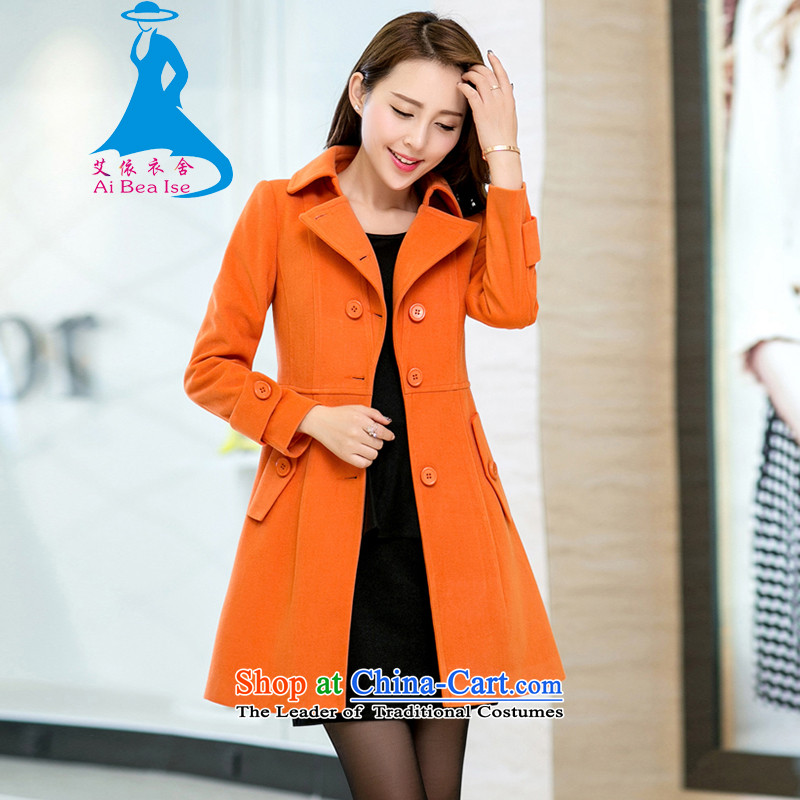 Ms Audrey EU better gross HIV? 2015 autumn and winter coats female new Korean fashion in the mantle of Sau San long jacket, 001 Orange S