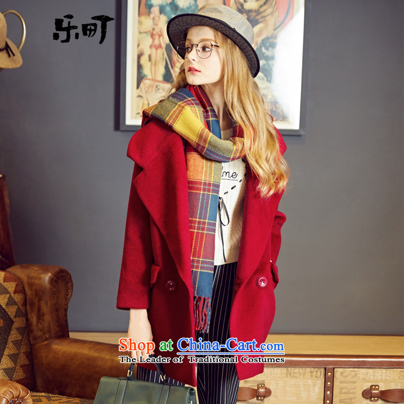 Lok-machi 2015 Autumn new gross coats large roll collar? a wool coat cocoon style woolen coat, double-jacket, dark red M_160