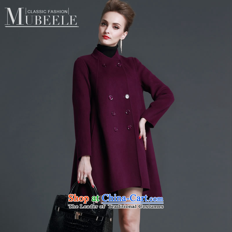 2015 Autumn and winter new double-side cashmere overcoat girl? a gross wool coat in long purple mantle  L