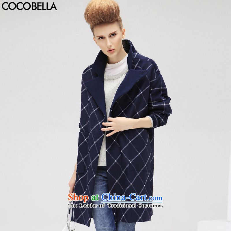 2015 Autumn new COCOBELLA van in Europe and the long coats women's gross grid? CT305 jacket, blue possession M