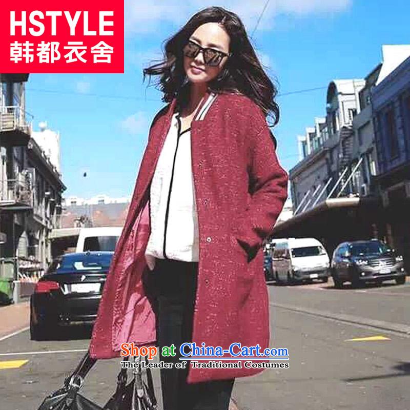 Korea has the Korean version of the Dag Hammarskjöld yi 2015 winter clothing new for women in the stitching long hair?6.Wine red jacket DU4617M