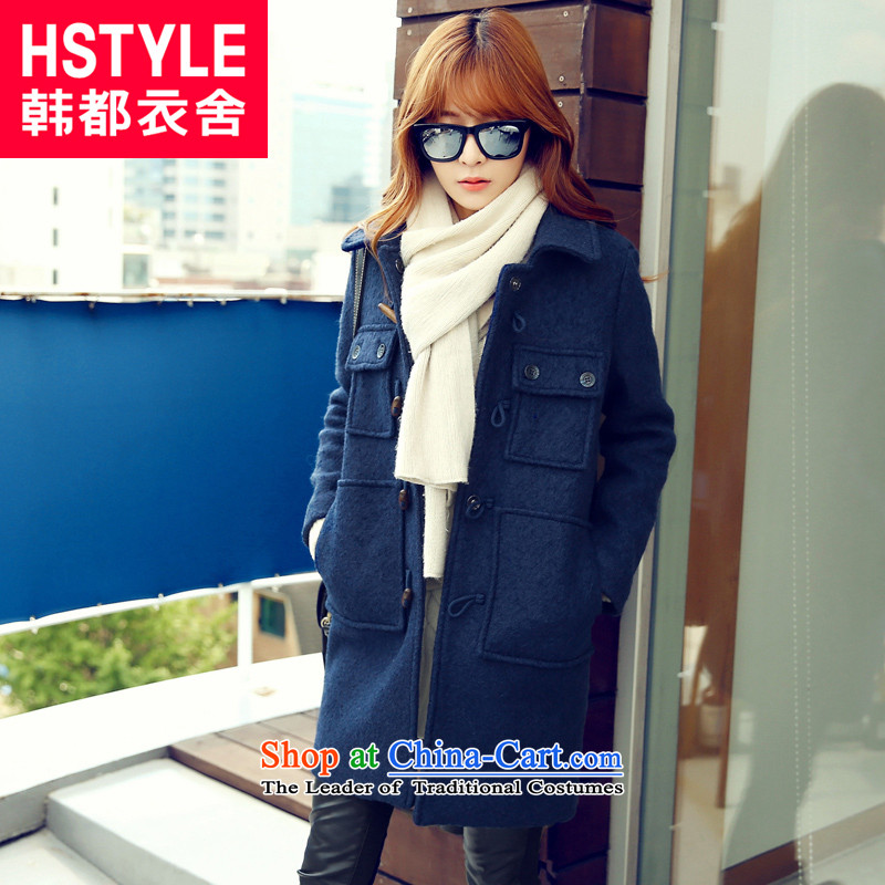 Korea has the Korean version of the Dag Hammarskj枚ld yi 2015 winter clothing new products Female Straight thin, long, video gross?2聽blue jacket AA4433聽S