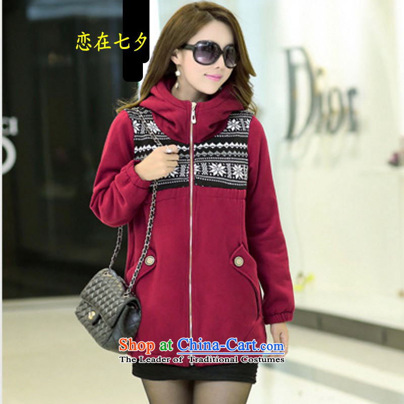 In the autumn of qixi, the sister of thick winter load winter jackets for larger female 3X4X5X thick Korean version of the MM long with cap pattern sweater cotton jacket female wine red�     6XL suitable for 200-230 catty people