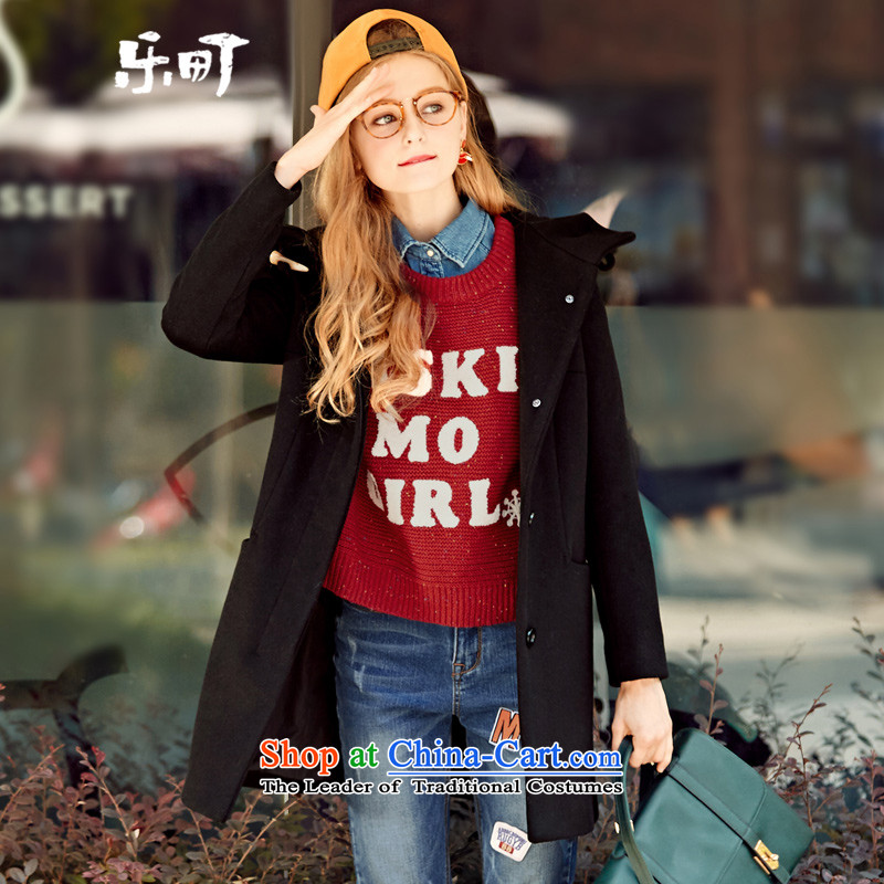 In the fall of 2015-machi Lok Load New Sau San type cap coats jacket in gross? Long woolen coat燤_160 black T-Shirt