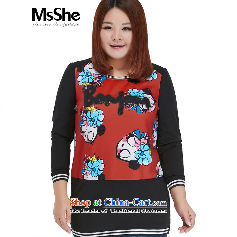 Msshe xl women on the new 2015 Autumn replacing lovely cartoon stamp thick sister sweater in long black 2XL safflower 10,411 requests