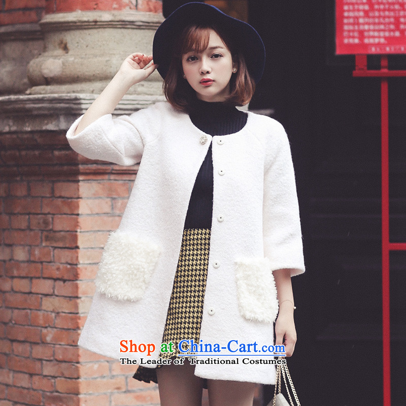 Ha-na 2015 winter clothing graphics temperament pure color jacket聽254206002 Lamb Maomao?聽m White聽M