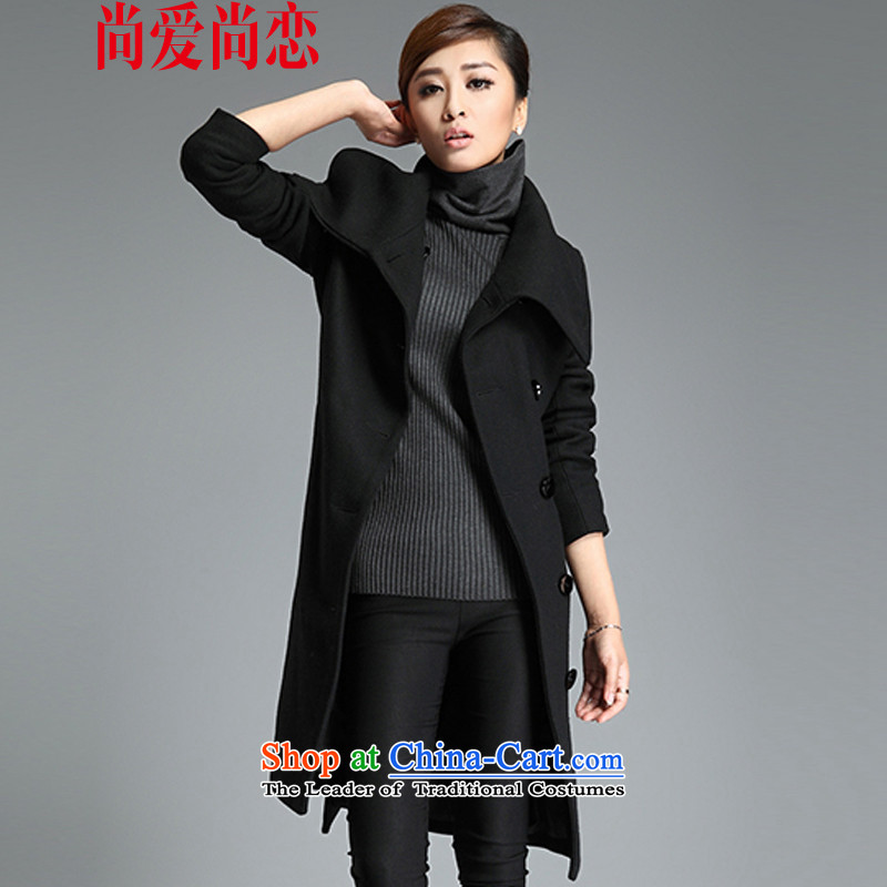 There is gross land is love overcoat female Korean version of long聽black聽XXXL LMN009