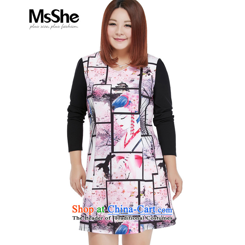 Msshe xl women 2015 new fall thick sister stamp graphics load thin long-sleeved dresses 10555 Black Toner spend�L