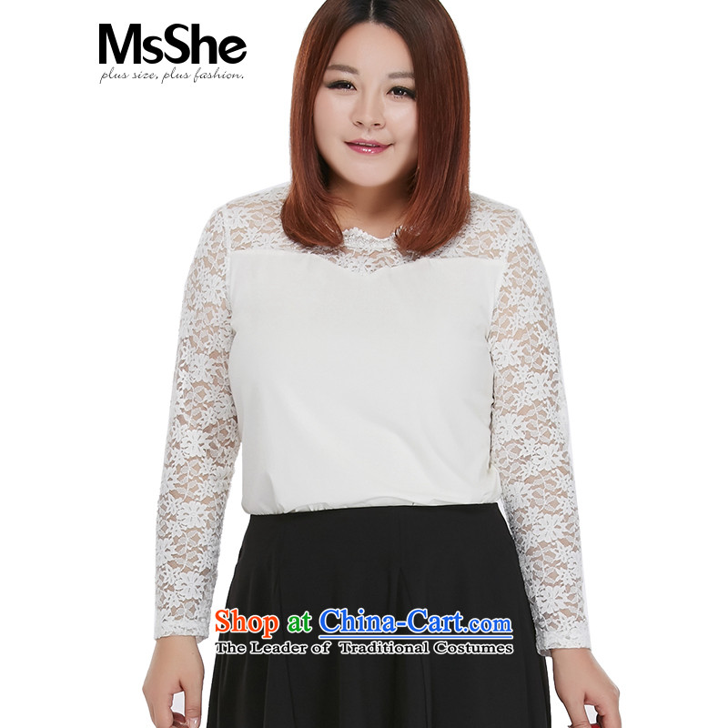 Msshe xl women 2015 new thick sister autumn replacing lace stitching modal cotton shirt 10263 Hot-Swap white coated燲L