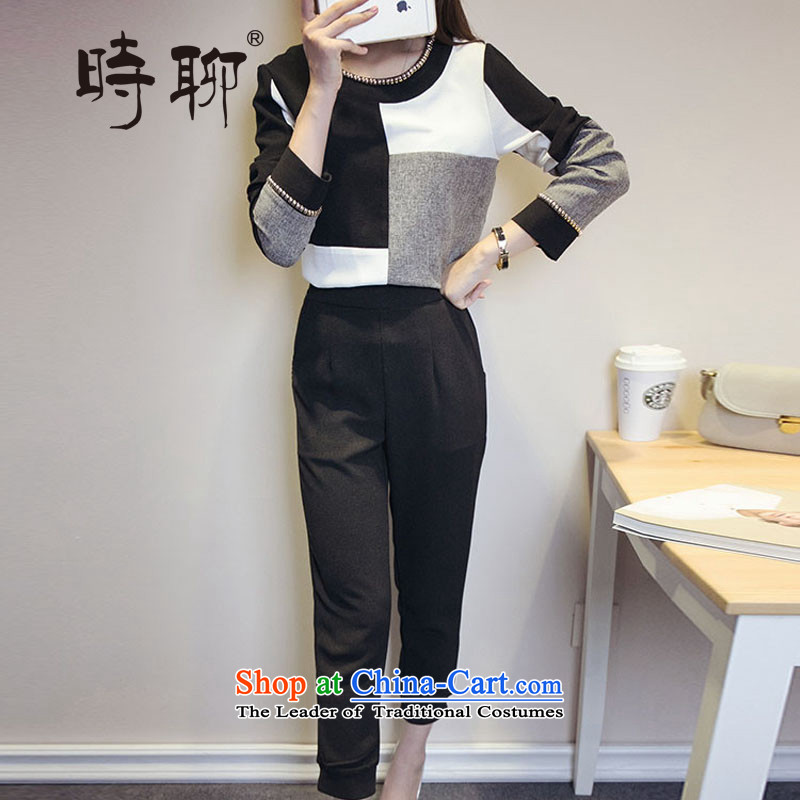 When talking about new products of autumn and winter 200 catties larger female Korean version of fat mm thin long-sleeved shirt, forming the graphics shirt + pants and two kit picture color�L爎ecommendations 135-150 catty