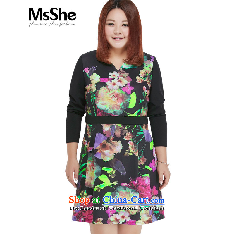 Msshe xl women 2015 new thick MM assemble the autumn A swing stamp long-sleeved video thin dresses 10383 Black 6XL purple flowers