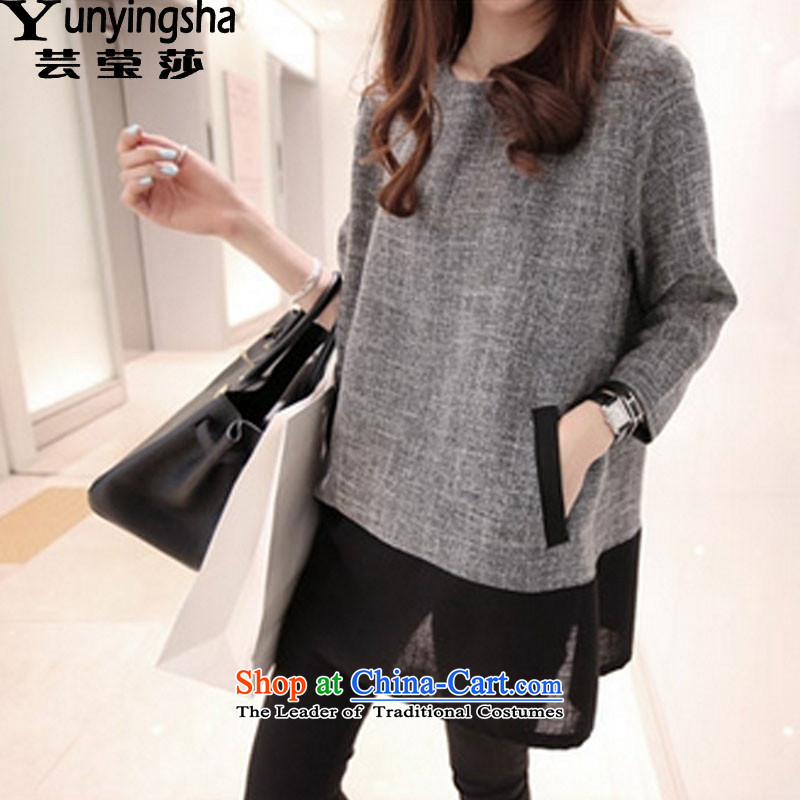 Yun-ying sa 2015 Autumn replacing the new Korean large female thick MM cotton linen dresses long-sleeved stitching female D9495 GRAY燲XL